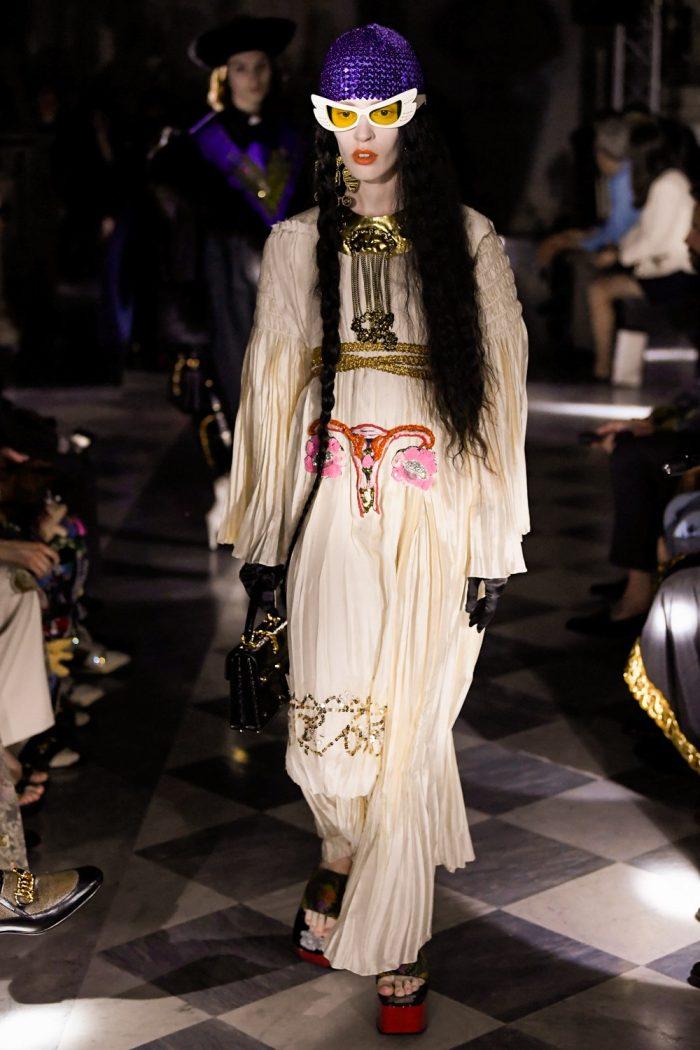 Iconic Uterus Dress At Gucci Resort 2020 Fashion Show Trendbook Trend Forecasting