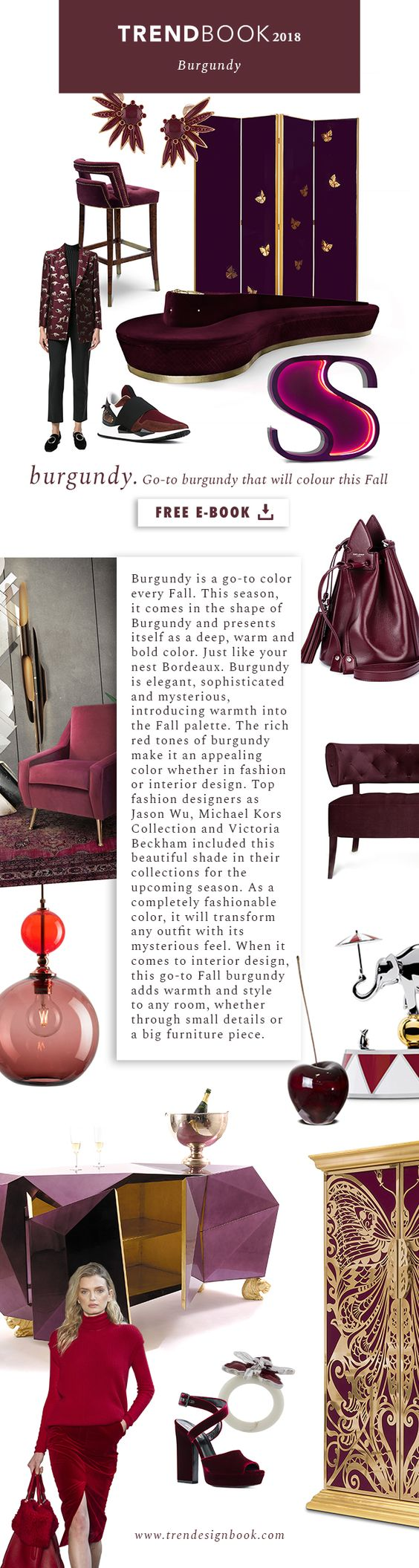 Color trends Fall/Winter 2017/18 Burgundy